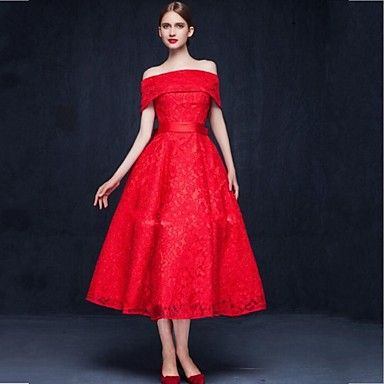 Cocktail Party Dress A-line Off-the-shoulder Tea-length Lace with Bow(s) / Lace – USD $ 79.99