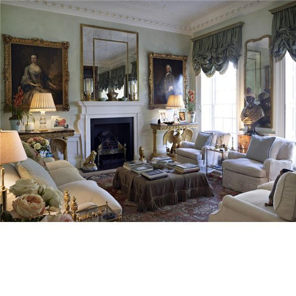 The drawing room at 9, The Circus. The Georgian townhouse was designed by John Wood in 1754 in Bath, England
