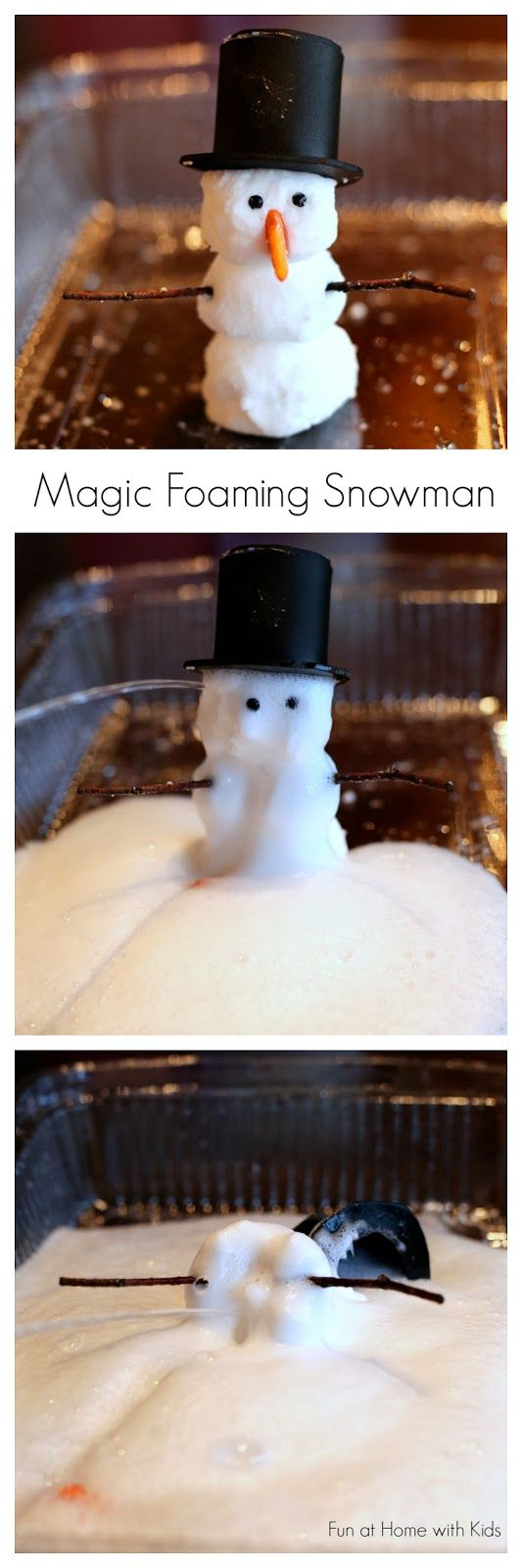 """{New Recipe} Foaming Dough you can use to make Magic Foaming Snowmen that """"melt"""" into an icy puddle of frothy foam!  From Fun at Home with Kids"""