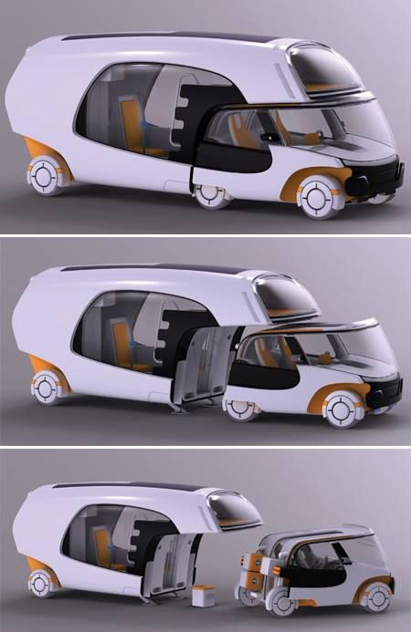 This caravan has a detachable car and a motorhome that can live up to 4 people.