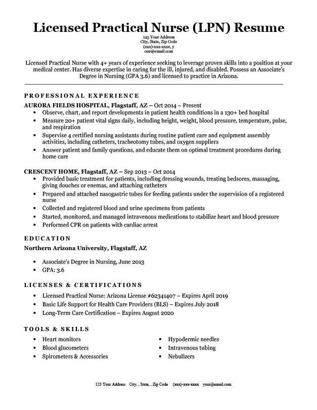 Licensed Practical Nurse Lpn Resume Sample Writing Tips Rc Practical Nursing Nursing Resume Licensed Practical Nurse