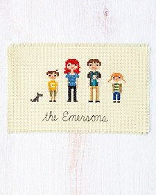 I saw this in the latest Martha Stewart magazine and absolutely love this idea -- cross stitch a family portrait.