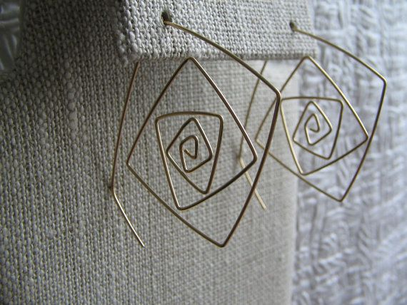 Gold filled wire earrings spiral square hoop by wishlistartjewelry