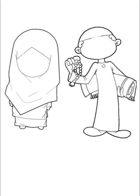"Muslim girl and boy colouring stencil. Can be used to explain the modesty for both genders, or the appropriate clothes to wear to the mosque or for little kids create stick puppets as symbolic play to act out the muslim greeting. For instance, Girl: ""Assalaamu Alaykum, Bilal. How are you?"" Boy: ""Waalaykum  mussalam, Alhamdulillah, I'm doing fine""."