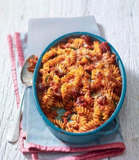bake chicken and chorizo pasta baked chicken chorizo pasta bake tomato ...
