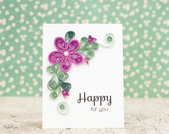 Dies ist die perfekte Karte für einen besonderen Anlass wie eine Hochzeit, Verlobung, Baby Ankündigung oder Abschluss feiern! Es ist eine 100 % handgemachte Karte mit einem schönen Design Papier quilled Blüten und Blätter. Jede Form ist individuell von mir mit Sorgfalt quilled - handgemachten Qualitäten sind wie nichts, was Sie jemals in einem Shop finden!!   Wenn Sie das Design dieser Karte, aber eine andere Stimmung oder Farben möchte, schickt mir einfach eine individuelle Anfrage und ich…