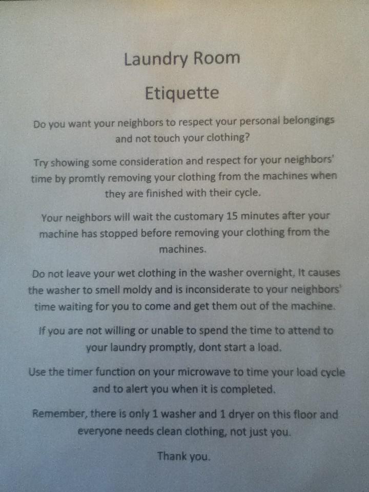 Apartment Laundry Room Etiquette