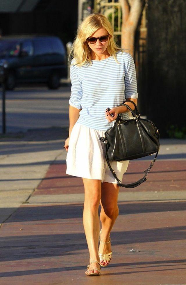 Striped shirt + simple white skirt + metallic sandals + chic black bag