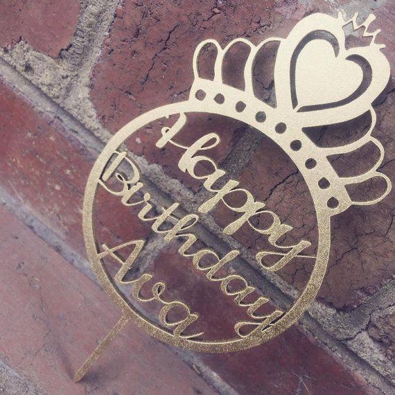 Princess Crown Cake Topper  Personalised by SugarBooBespokeGifts