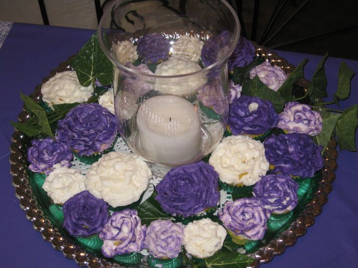 cupcake centerpiece with candles