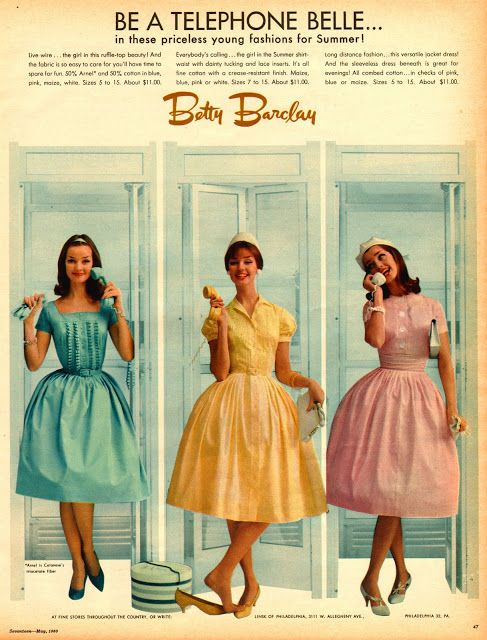 "vintage everyday: Fashion Advertisements in 1960 from ""Seventeen"" Magazine.  The ""shirtdress"", in the middle is still my favorite dress ever"