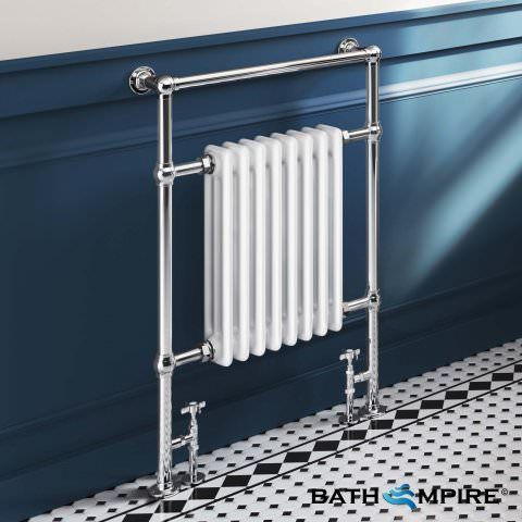 Victoria Traditional Slimline Towel Radiator in White 952mm x 659mm
