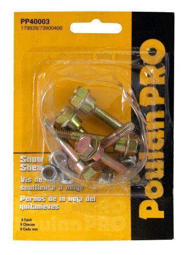 Poulan Pro PP40003 6-Pack Of Snow Thrower Sheer Pins & Bolts by Poulan. $9.27. Includes 3 set of 2 per pack for a total of 6. Poulan Pro PP40003 snow thrower sheers pins and bolts are easy to use. Fits models  PR524, PR5524ES, PP10530ES, and PP1130ES. From the Manufacturer                Poulan Pro Snow Thrower Sheer Bolts                                    Product Description                Includes Sheer Pins for Two Stage Poulan Pro & Husqvarna Snowblowers - PP40003