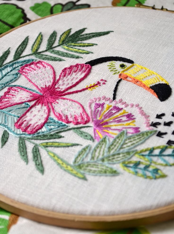 Embroidery pattern tropical leaf hand