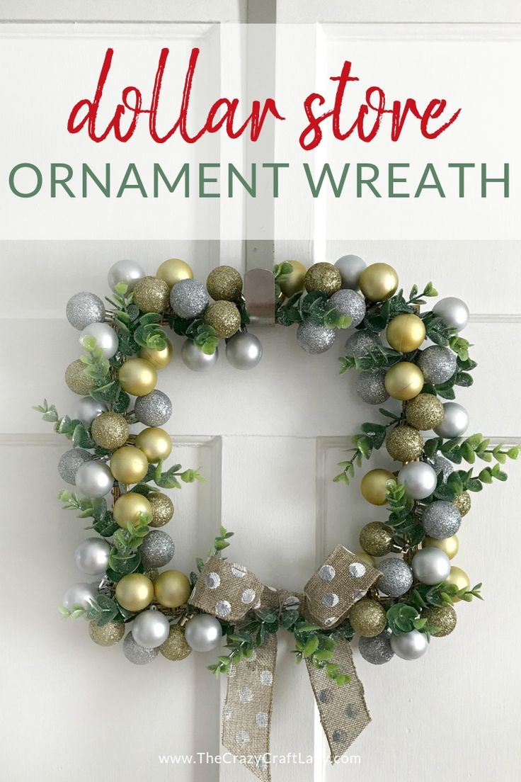 Dollar Store Ornament Wreath – an easy square wreath with mini metallic ornaments