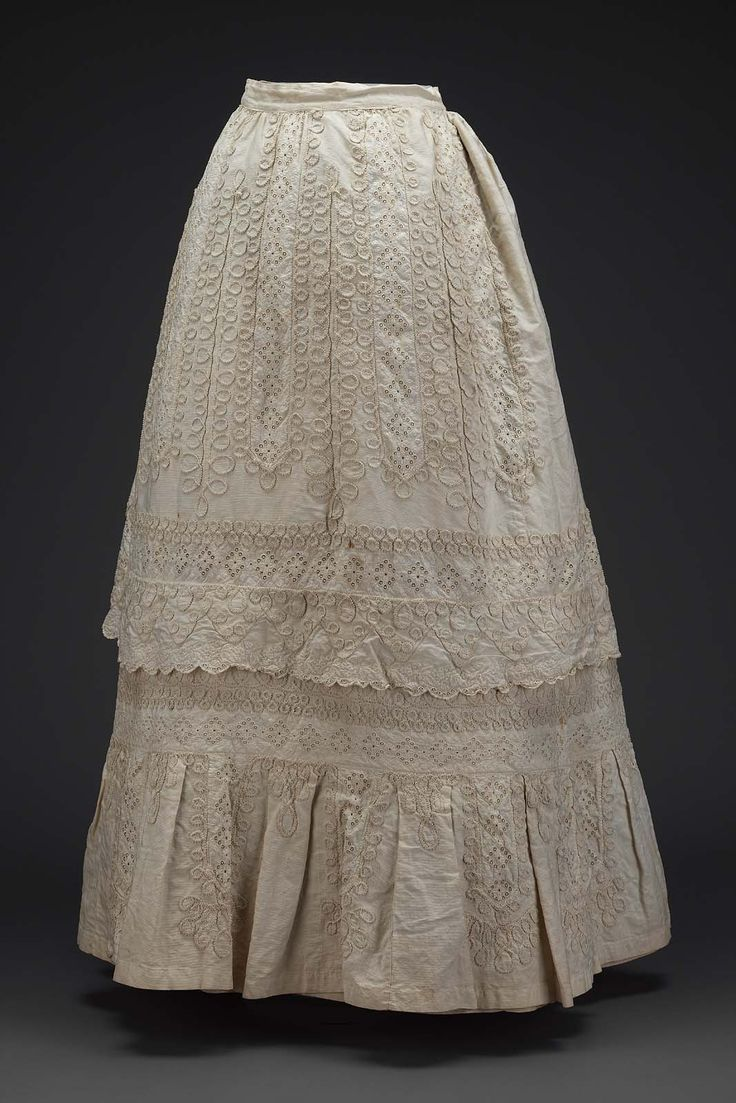 Skirt of white piqué (with cotton embroidery and applied braid trim ). American (third quarter 19th century ). Image and text information courtesy MFA Boston.