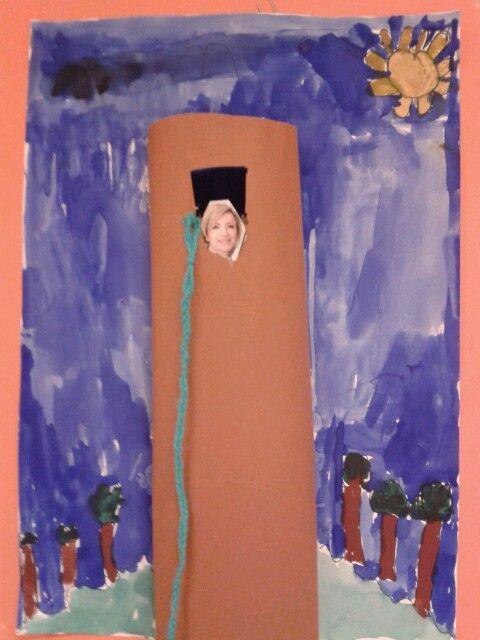 Bij kern 5 sprookjes: kinderen vlechten een vlecht, tekenen met fineliner de omgeving en het kasteel (of van keukenrol), plaatje van een dame als prinses. Als laatste met waterverf inverven