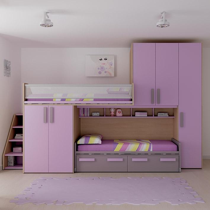 """#Arredamento #Cameretta Moretti Compact: Collezione 2012 """"Team"""" > Kids – Soluzione a #Soppalco >> ks18 #letti #armadio http://www.moretticompact.it/kids.htm"""