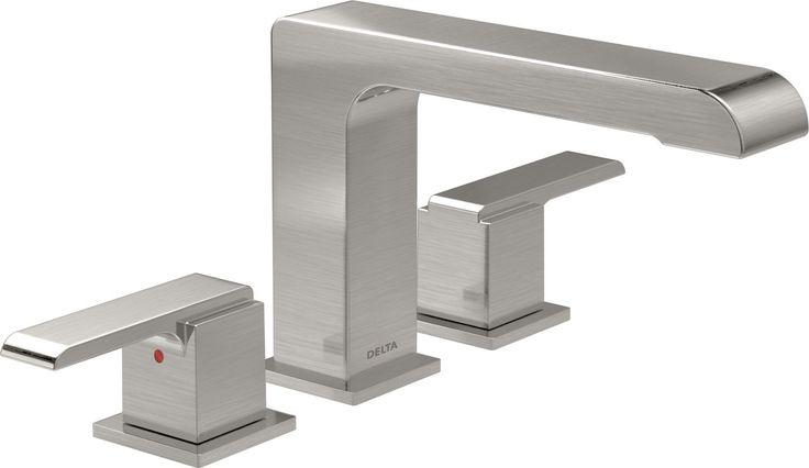 Delta T2767 Ara Double Handle Roman Tub Faucet Trim (Less Valve) Brilliance Stainless Faucet Roman Tub Double Handle