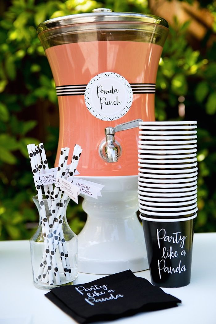 """Panda Punch"" station from a chic Party Like a Panda Birthday Party at Kara's Party Ideas. See this monochromatic party and more at karaspartyideas.com!"