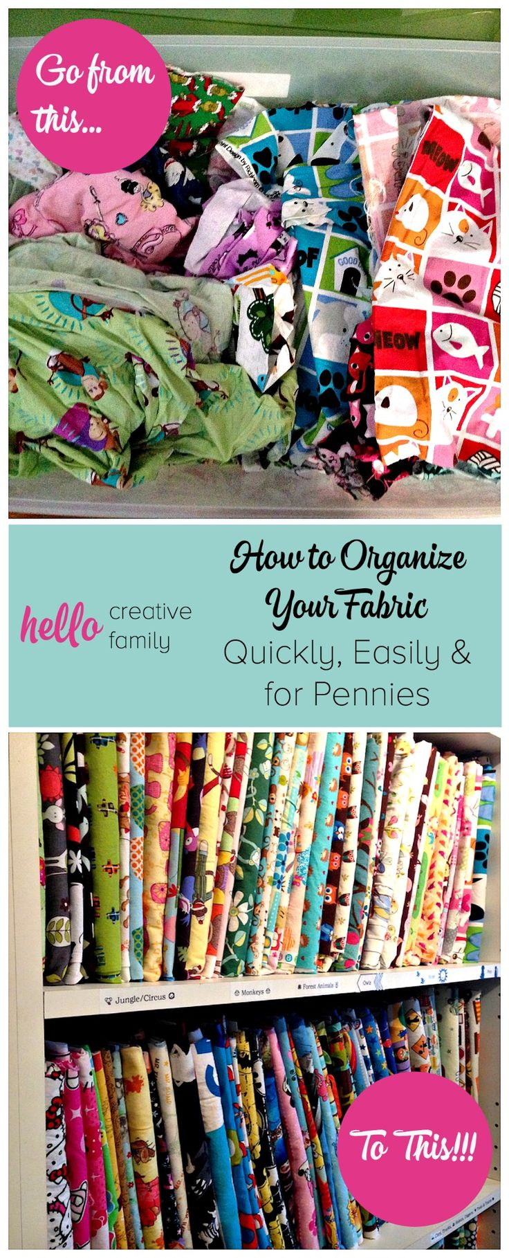 Hello Creative Family Shares With You How to Organize Your Fabric Quickly, Easily and for Pennies Using Comic Book Backing Boards and a Brother Label Maker!