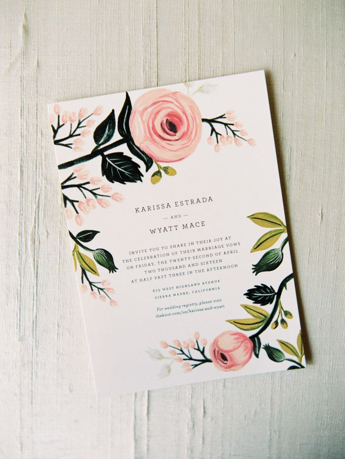 Beautiful pastel wedding invitation: http://www.stylemepretty.com/2016/08/17/classic-pastel-pasadena-villa-wedding/ Photography: Winsome and Wright - http://winsomeandwright.com/