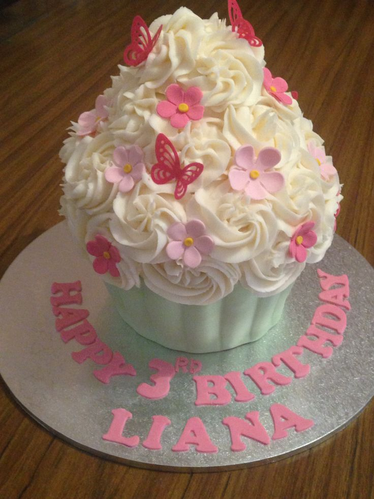 Giant cup cake birthday cake