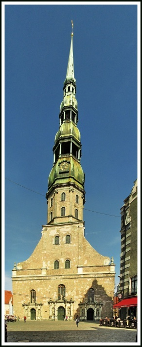 St. Peter's Church (Latvian: Svētā Pētera Evaņģēliski luteriskā baznīca) is a tall Lutheran church in Riga, Latvia, named after Saint Peter. First mention of the St. Peter's Church is in records dating to 1209. The church was a masonry construction and therefore undamaged by a city fire in Riga that year.