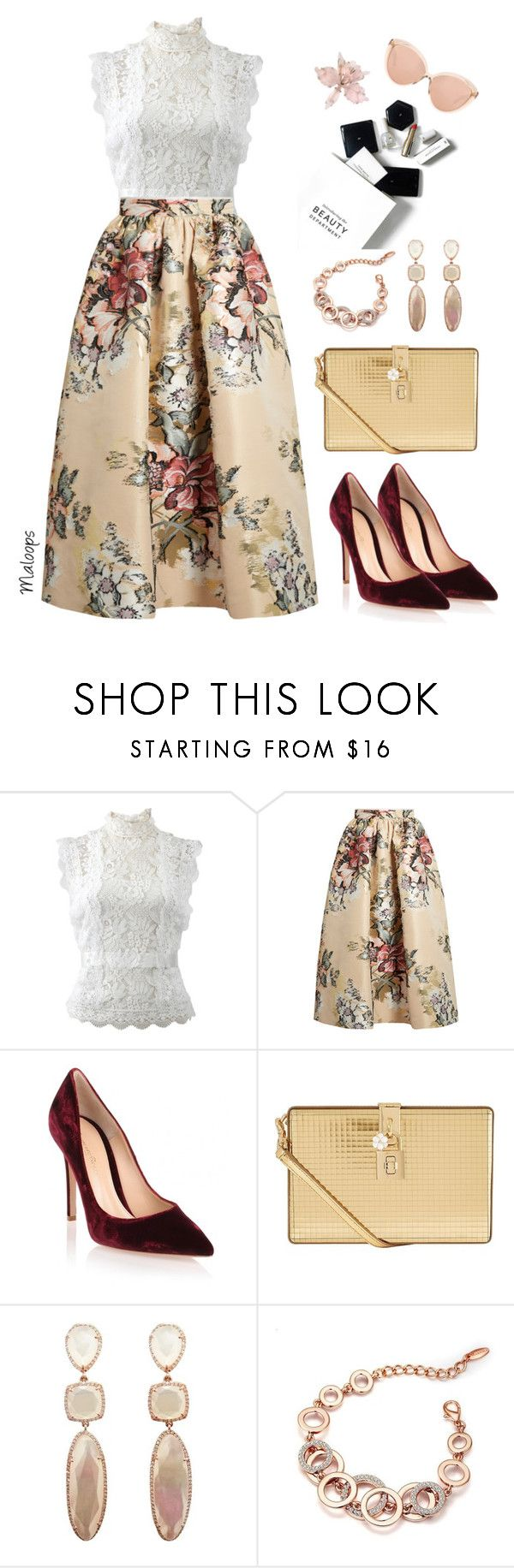 """~Stop and smell the roses~"" by maloops ❤ liked on Polyvore featuring Oscar de la Renta, Fendi, Gianvito Rossi, H&M, Dolce&Gabbana, Linda Farrow, vintage, chic, VintageInspired and vintageflorals"