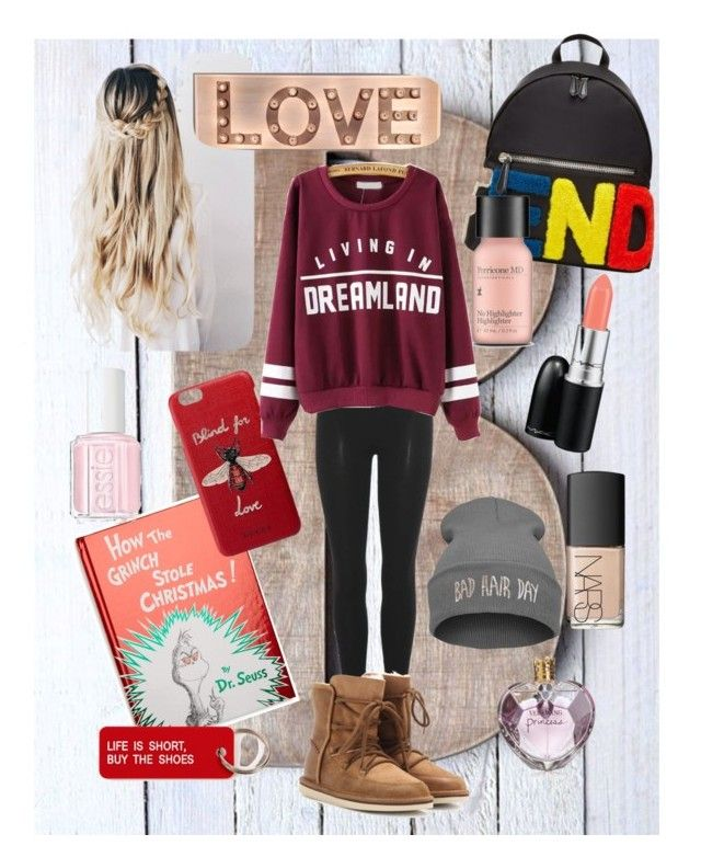 """""""Bad hair day #234"""" by jennykenny-1 on Polyvore featuring Penguin Random House, Fendi, adidas Originals, UGG Australia, Gucci, Vera Wang, Perricone MD, Essie, Various Projects and NARS Cosmetics"""