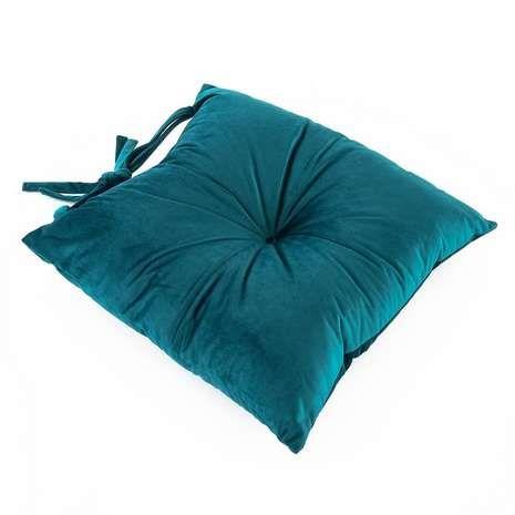 Velvet Charm Teal Seat Pad | Dunelm