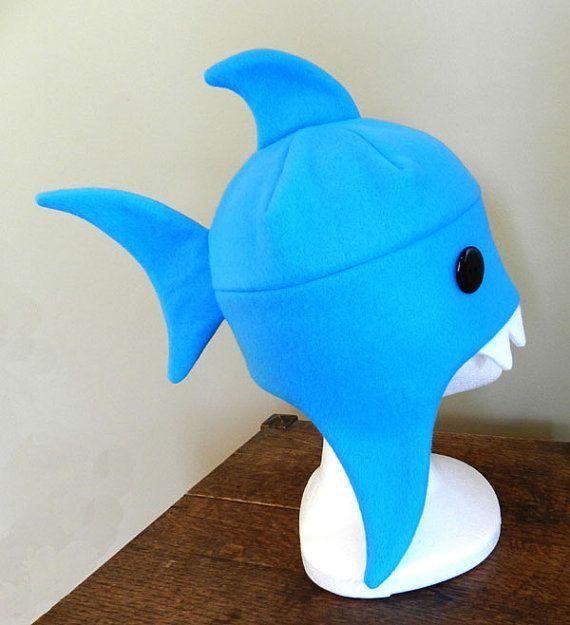 shark hat craft template - blue fleece shark hat by ninakanti on etsy