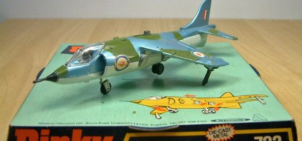Dinky Toy Hawker Harrier. Part of a range of 'then' current jets made by Dinky. This diecast model was produced between 1970 and 1980.