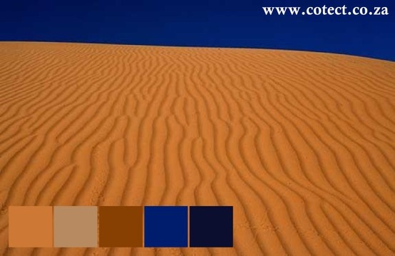 The Kalahari Desert has rich hues contrasted by deep blue sky. Excellent for outdoor paint colours. #Colour Palette