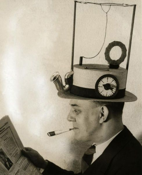 Radio hat, a portable radio in a straw hat. Invented in1931.