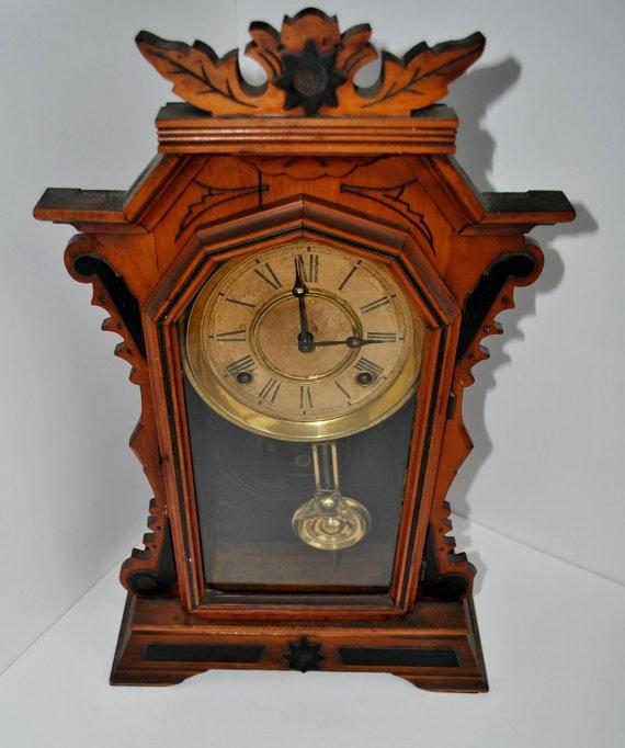 Antique Mantel Clock Wooden Vintage E by PicknThriftAntiques,