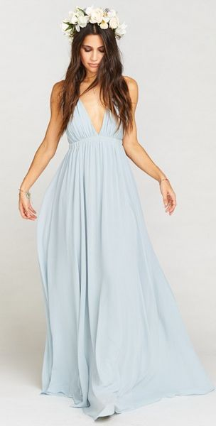 Boho Chic Bridesmaids Dress-Blue Chiffon Maxi Dress
