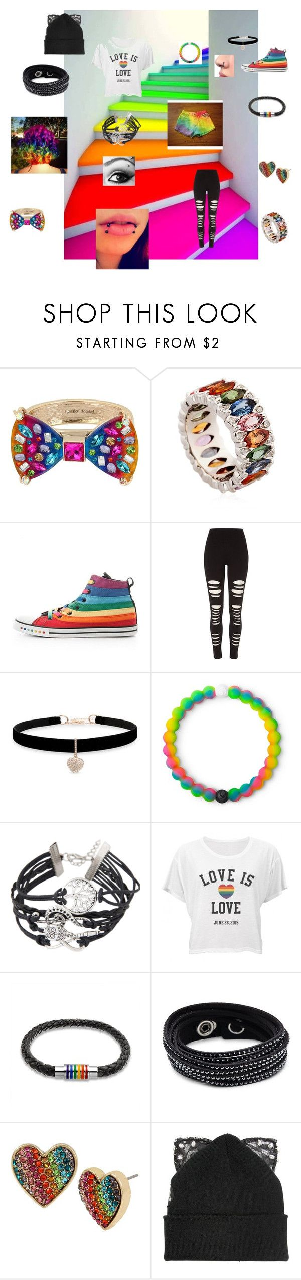 """""""Gay Pride"""" by bvbarmy04 ❤ liked on Polyvore featuring Betsey Johnson, Niquesa, River Island, Lokai, Bling Jewelry, Swarovski and Silver Spoon Attire"""