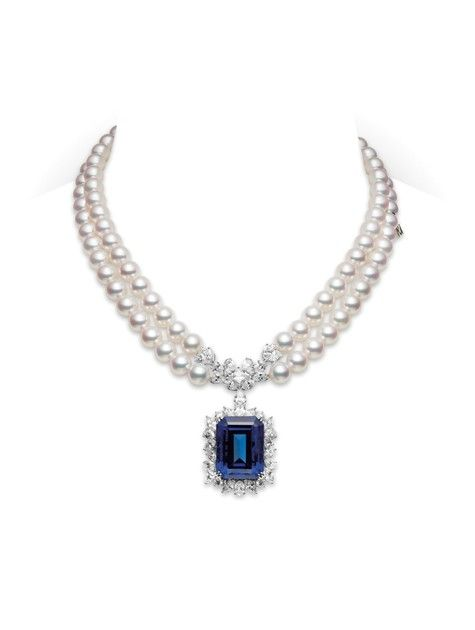 Double strand Akoya cultured pearl necklace 8.5x8.0mm, with 13.41ct. diamonds and 48.23ct. tanzanite set in 18K White gold. by Mikimoto