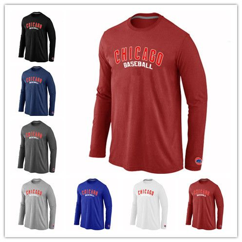 Chicago Cubs T-Shirts Long Sleeve Practice Baseball Cubs TShirt Long Sleeve O-Neck 100% Cotton 7 Colors $17.95