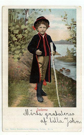 Postcard a boy FOLK COSTUME Leksand, Dalarna Sweden