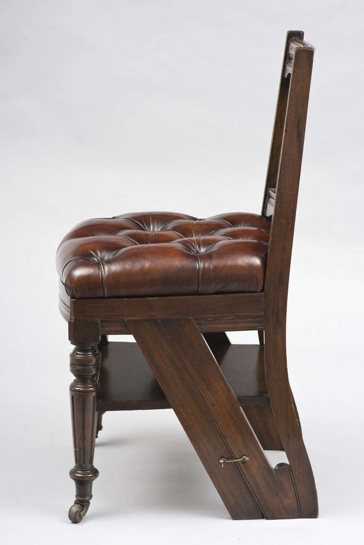 Antique chair casters - Victorian Mahogany Metamorphic Chair And Library Steps Circa 1870