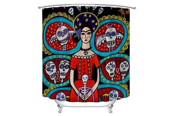 Day Of The Dead Shower Curtain Mexican Folk Art Lovers Bathroom