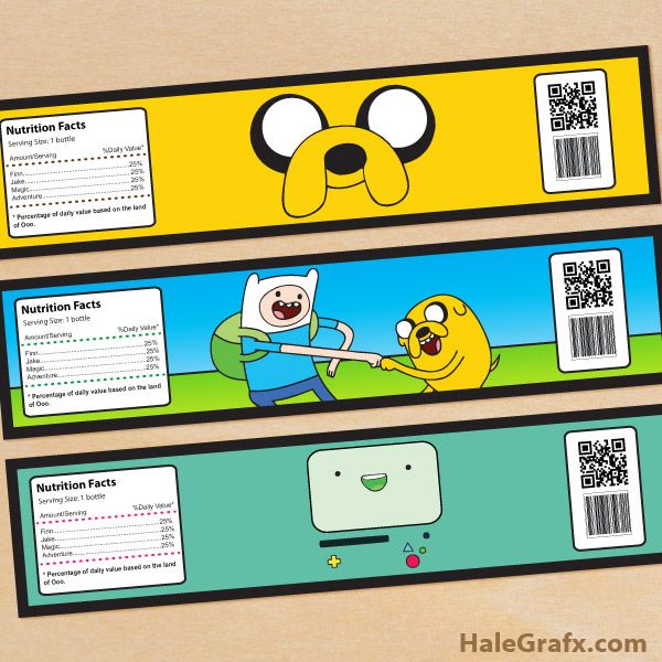 Click here to download FREE Printable Adventure Time Water Bottle Labels!