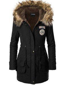 Femme Parka noir hiver Manteau femme noir Trench coat veste long blouson,FR 44 Etiquette US12