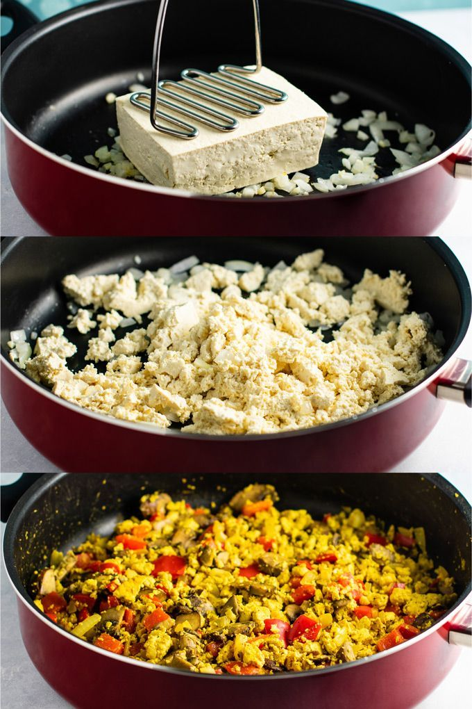 Tofu Scramble - extra firm tofu, onion, garlic cloves, olive oil, sliced baby bella mushrooms ...