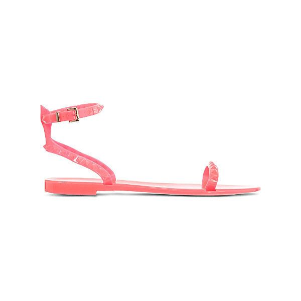 VALENTINO Rockstud ankle strap sandals ($155) ❤ liked on Polyvore featuring shoes, sandals, valentino shoes, ankle wrap sandals, neon sandals, plastic shoes and plastic sandals