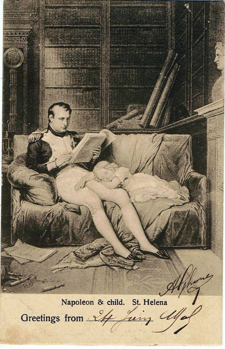 Napoleon & child, Saint Helena  curiosity postcard