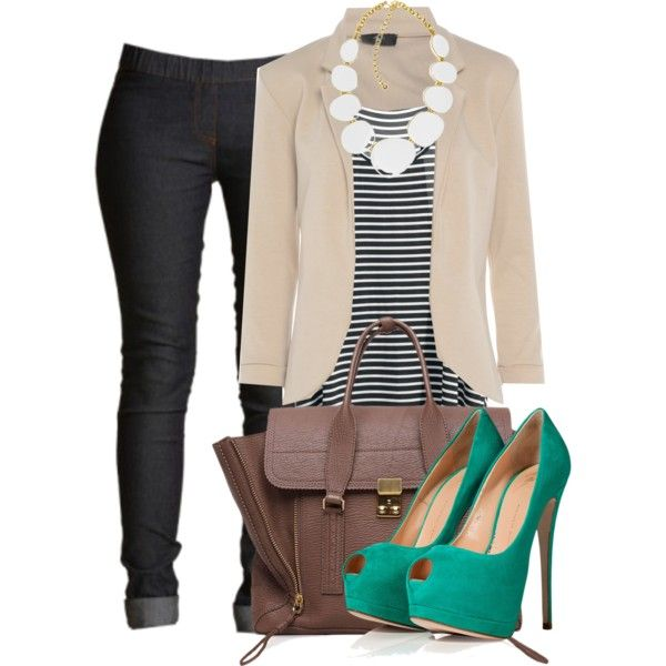 Black skinny leg, tan blazer, striped tee and statement white necklace. Could also look hot and more casual in flats.