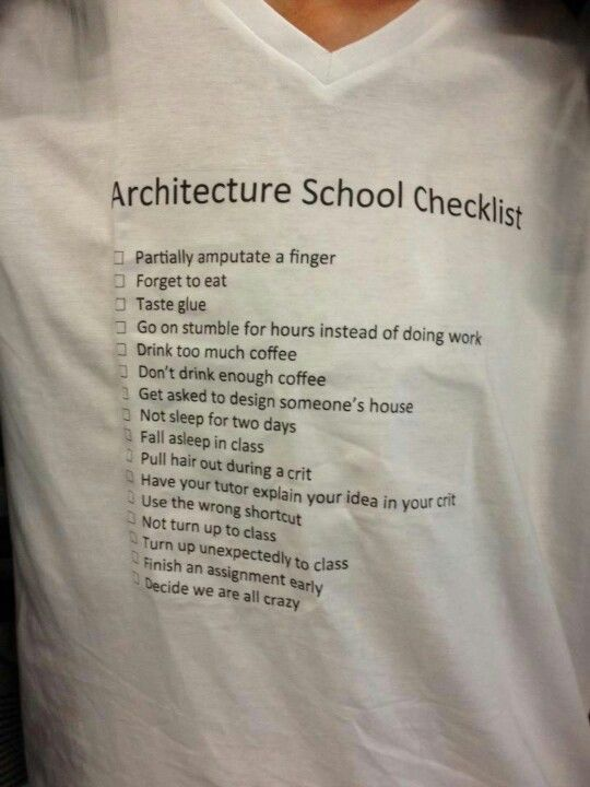 Checklist for architecture students...I'm an interior design student but I can def relate!